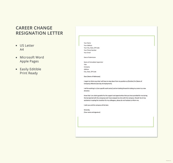 Resignation-Letter-Due-to-Career-Change Mac Resignation Letter Template on free printable company, 2 week notice, for school aide,