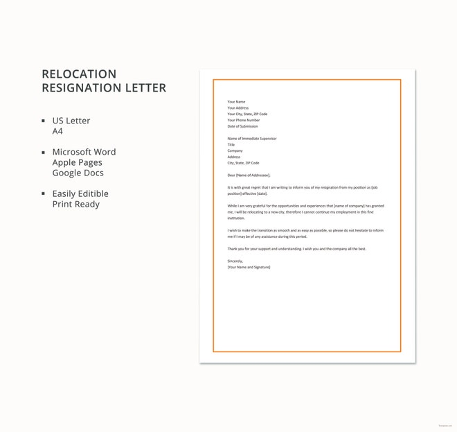 Resignation-Letter-Due-to-Relocation Teacher Resignation Letter Template Uk on 2 week notice, for school aide, free printable company,