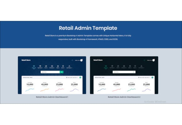 retail store next generation bootstrap admin template
