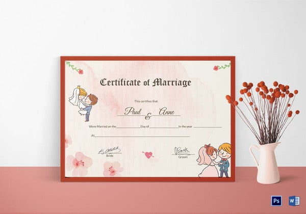 Wedding Certificate Template   Free Psd Ai Vector Pdf Format