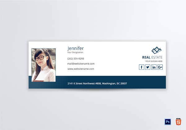 sample real estate email signature template