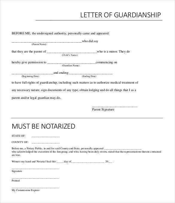 sample temporary notarized letter for guardianship template