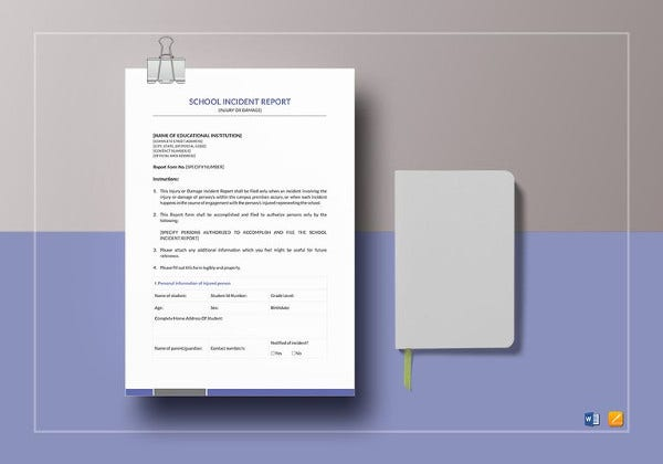 school incident report template