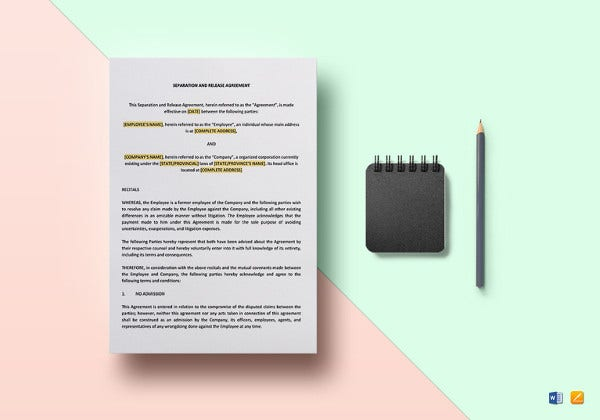 separation and release agreement template3