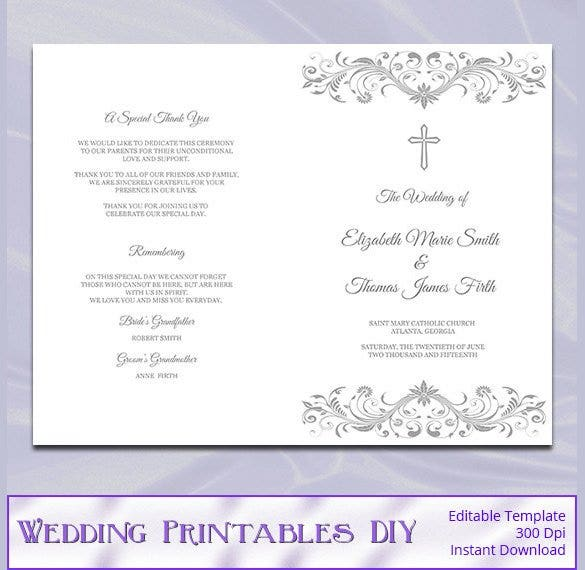 silver gray catholic wedding program template1