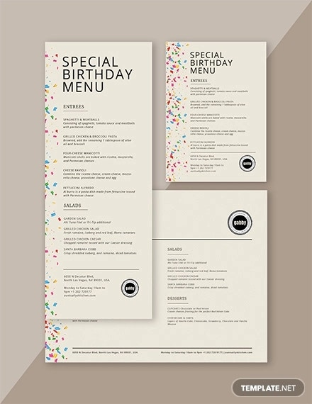 simple birthday menu template