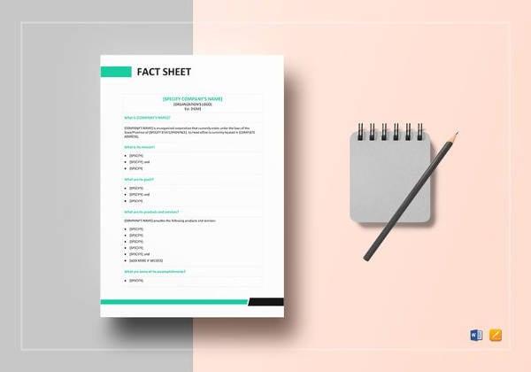 simple business fact sheet template
