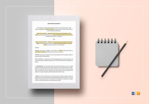 simple hold harmless agreement template1