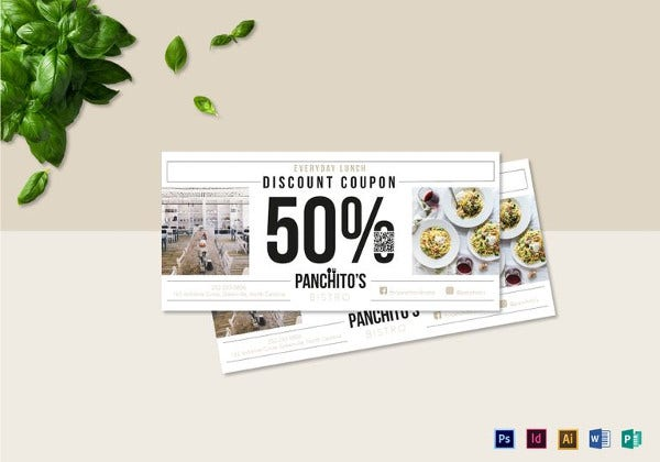 simple lunch discount coupon template in psd