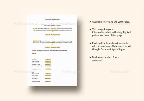 simple sale agreement template