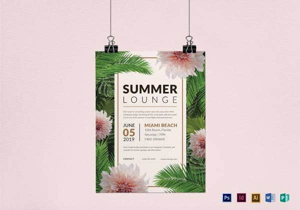 simple summer lounge flyer template