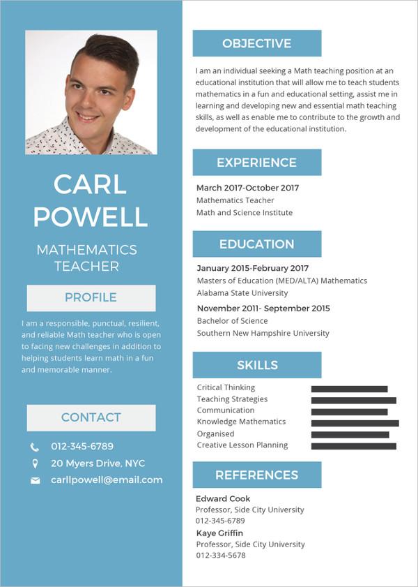 simple-teacher-resume-template