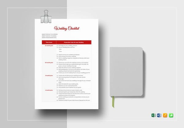 simple wedding checklist template
