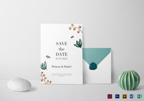 simple wedding invitation illustrator template
