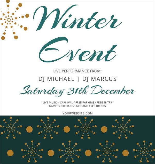 simple winter events flyer template