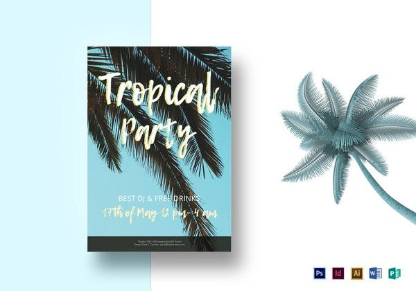 small tropical party flyer template