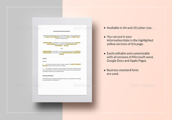 software distribution agreement form template