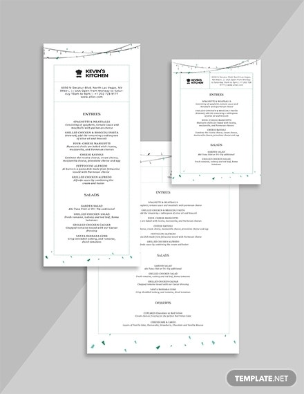 special birthday menu template