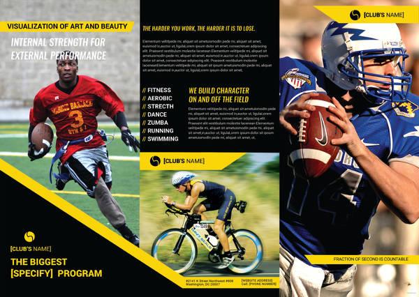 sports tri fold brochure template