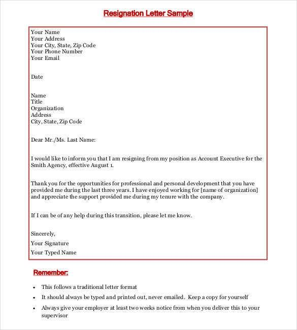 69 Resignation Letter Template Word Pdf Ipages Free Premium