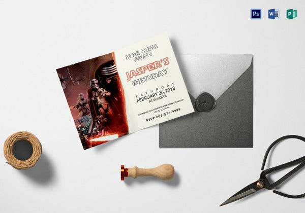 star wars birthday invitation word template