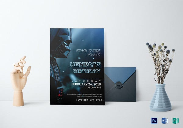 star wars birthday party invitation photoshop template