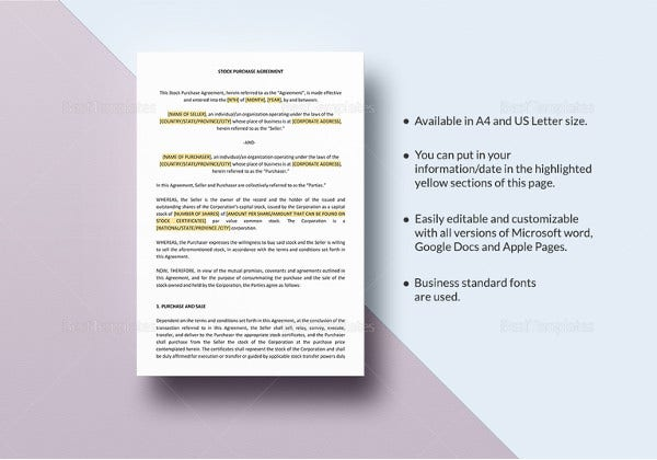 stock purchase agreement template in pages for mac