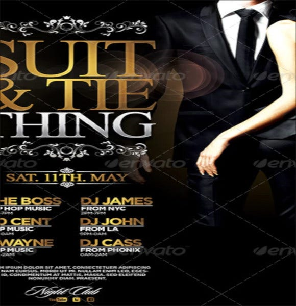 suit and tie club flyer template psd design