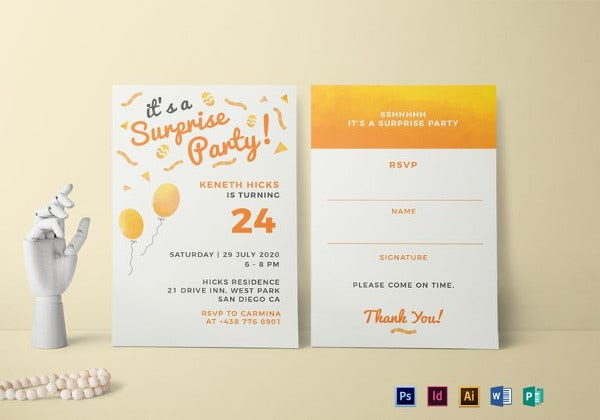 surprise birthday party invitation