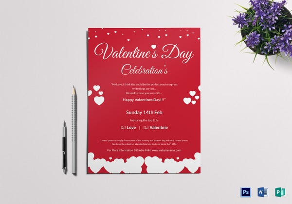 valentines day celebrations flyer template