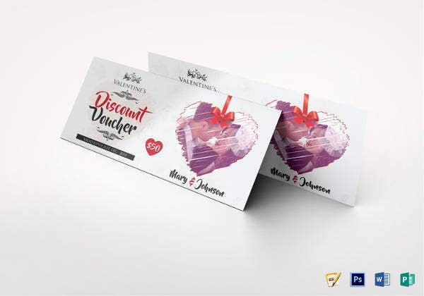valentines day discount coupon voucher design