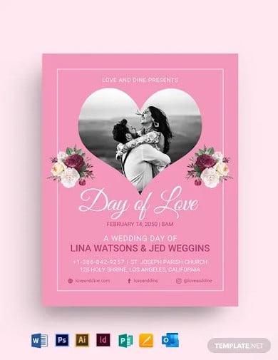 valentines day wedding flyer template