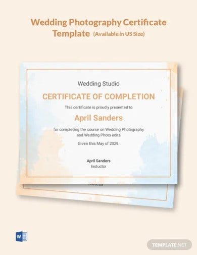 wedding photography certificate template