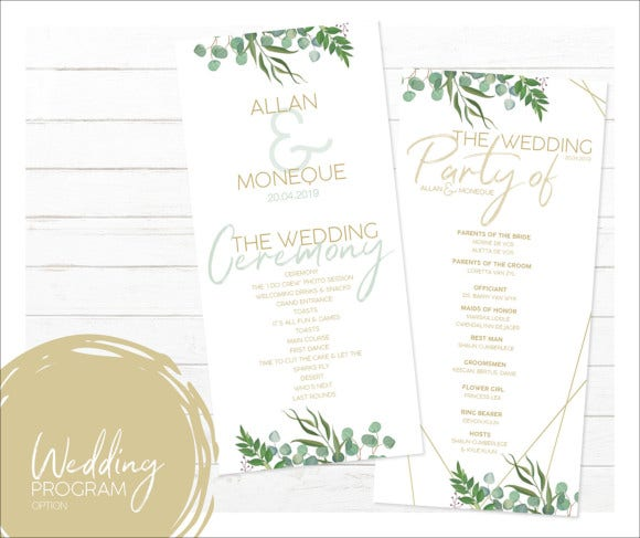 wedding program design template for download