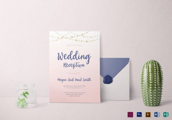 wedding reception invitation template in psd