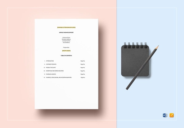 weekly business report template to print