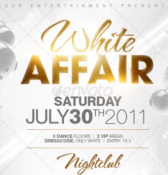 white affair party flyer