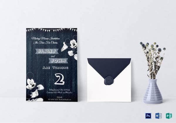 wood work mickey mouse invitation template