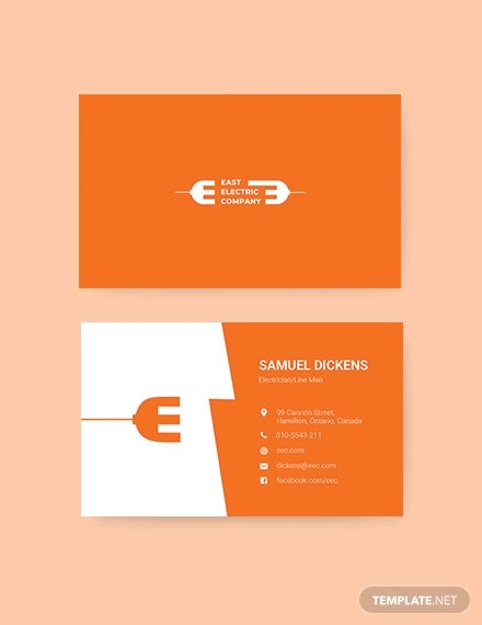 modern electrician business card