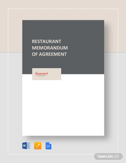 restaurant memorandum of agreement