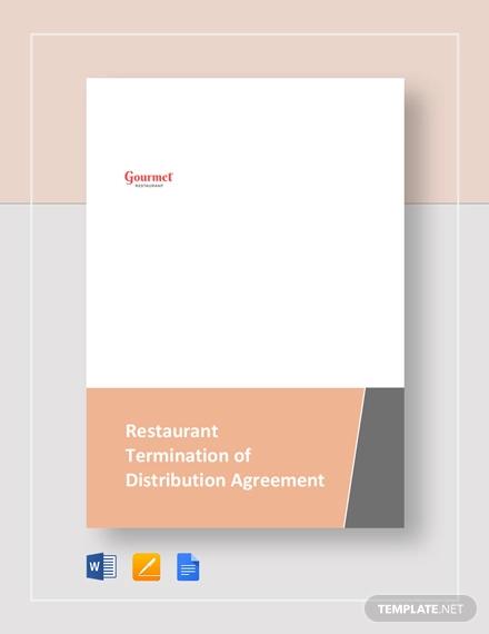 Restaurant Termination of Distribution Agreement Template