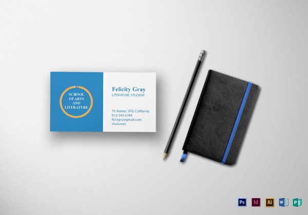 18 student business cards free printable psd eps word pdf student business card template in word reheart Image collections