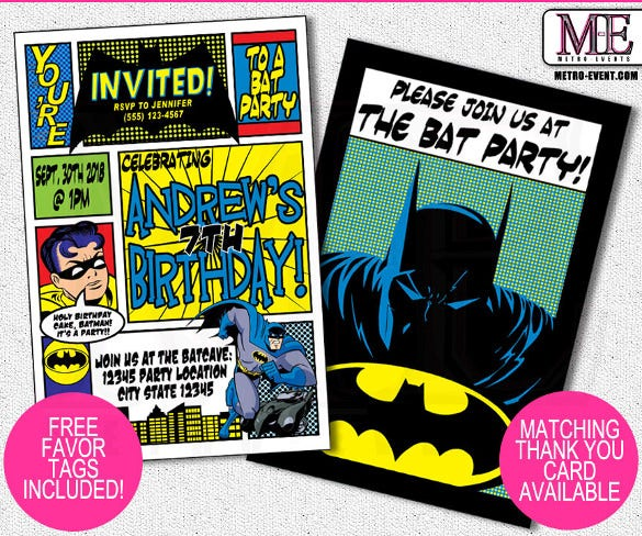 Batman And Robin Superhero Birthday Party Invitation