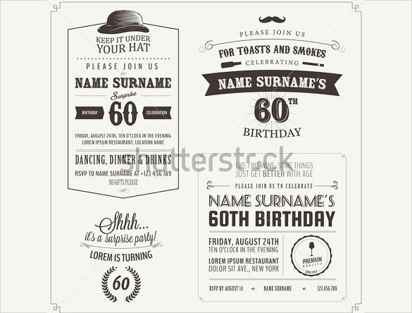 Adult Birthday Invitation Templates Free Sample Example - Retro birthday invitation template