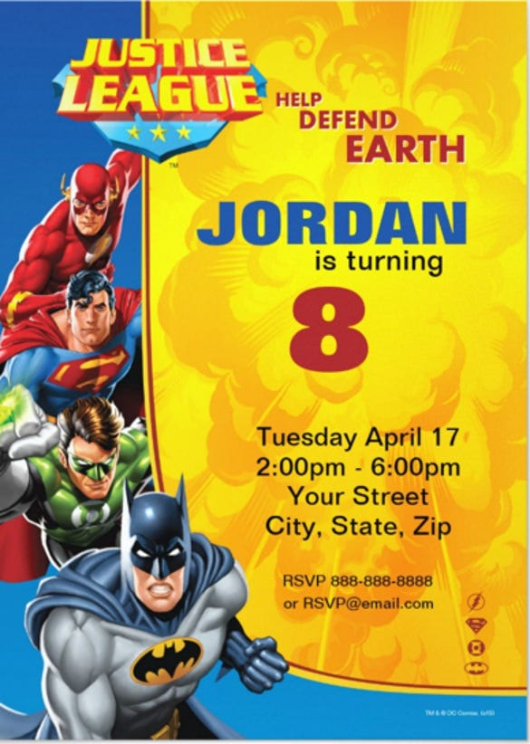 19 superhero birthday invitations free psd vector eps ai justice league birthday party invitation stopboris Gallery