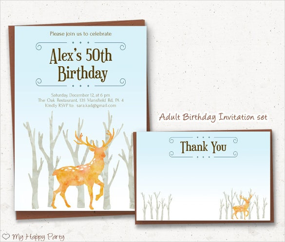 watercolour deer printable adult birthday invitation design