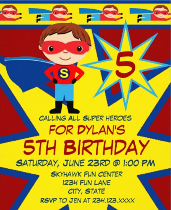Superhero Boys Birthday Party Invitation Red