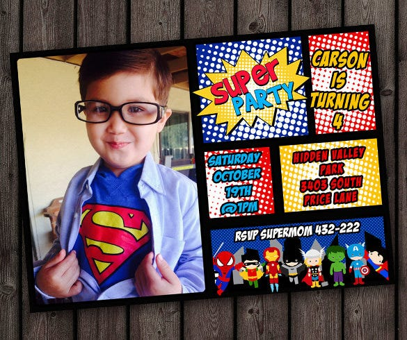 19 superhero birthday invitations free psd vector eps ai customized on weekdays superhero birthday invitation filmwisefo