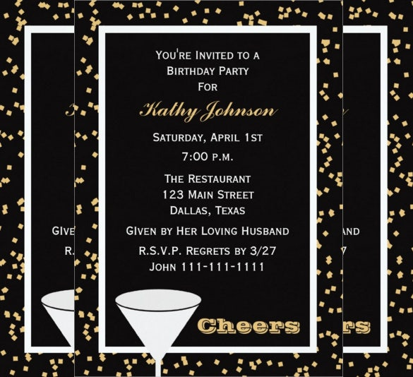 Black Adult Birthday Party Invitation Template  Birthday Invitation Template Printable