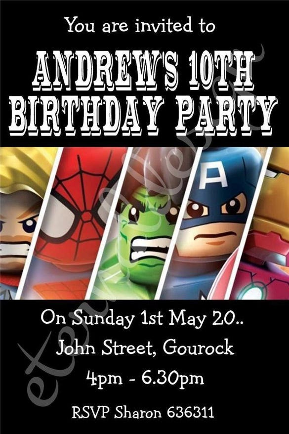 10 X Personalised Kids Birthday Party Invites Marvel Superheros
